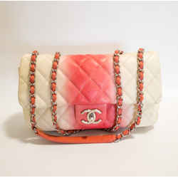 Chanel Medium Beige & Coral Ombre Caviar Classic Flap Bag 2012