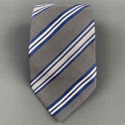 ERMENEGILDO ZEGNA Blue & White Diagonal Stripe Silk / Cotton Tie