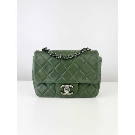 Chanel Forest Green Lambskin Square Mini Flap Classic