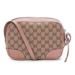New Gucci Beige Pink Gg Guccissima Bree Crossbody Camera Bag