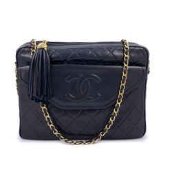 Chanel 1991 Vintage Midnight Blue-Black Envelope Flap Classic Camera Case Bag 24k GHW