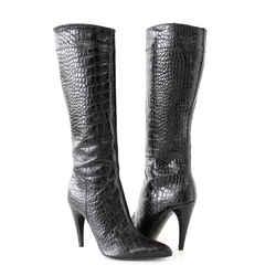 Prada Boot Sleek Rich Black Crocodile Knee High 37 / 7