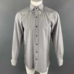 Tom Ford Size M Grey Plaid Cotton Spread Collar French Cuff Long Sleeve Shirt