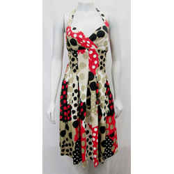 Moschino Cheap And Chic 8 Polka Dot Halter Dress Multicolor Beige Red