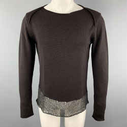 Emporio Armani Size 36 Brown Wool Boat Neck Texture Trim Pullover Sweater