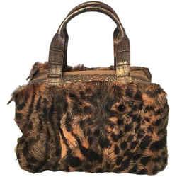 Nancy Gonzalez Leopard Print Fur And Crocodile Baguette