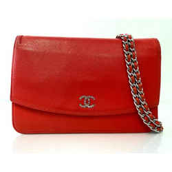 CHANEL Caviar Leather WOC in Red with Silver Hardware Crossbody Handbag