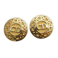 Authentic Christian Dior Clip On Earrings Cd Logo Gp Jewelry Accessory