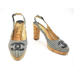 "Chanel: Black Stripe & ""cc"" Logo, Cork Heels/pumps Sz: 8m"