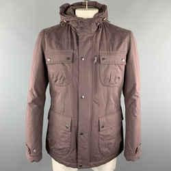 Brunello Cucinelli Size L Plum Cotton Blend Hooded Patch Pockets Zip & Snaps Jacket