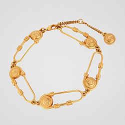NEW $640 VERSACE RUNWAY TRIBUTE Gold Metal MEDUSA SAFETY PIN Bracelet ANKLET