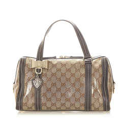 Vintage Authentic Gucci Brown GG Crystal Duchessa Boston Bag Italy