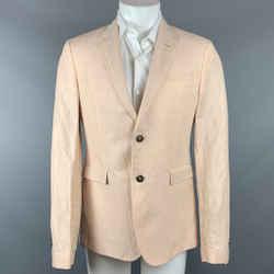 ROBERTO CAVALLI Size 40 Peach Textured Linen / Silk Sport Coat