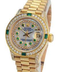 Rolex Lady Datejust White Mop Diamond Dial Diamond Lugs Bezel 26mm
