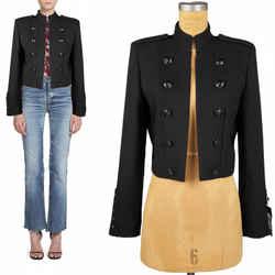 42 NEW $3990 SAINT LAURENT Black Wool MILITARY OFFICER Blazer SPENCER JACKET 6