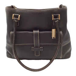 Loro Piana Pebbled Dark Brown Leather Tote