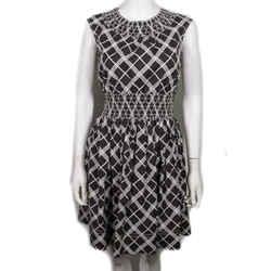 Prada - New Cady Pleated Empire Dress - Half Sleeved Pleated - Black White - Xs
