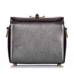 Vintage Authentic Alexander McQueen Silver Box 19 Leather Crossbody Bag ITALY