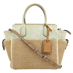 "Reed Krakoff Bag Atlantique Leather Colorblock Medium White/Ivory Straw Tote 10""L x 5""W x 9""H"