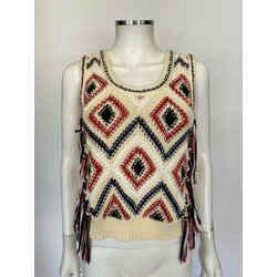 $395 Derek Lam 10 Crosby Knit Vest W/ Fringe Sz Xs