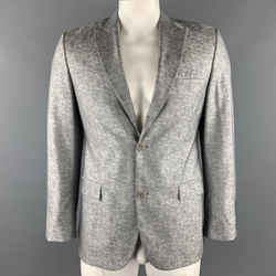 Calvin Klein Collection Size 40  Silver Heather Wool / Silk Peak Lape Sport Coat