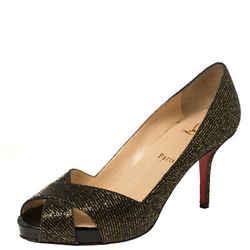 Christian Louboutin Black/Gold Glitter Fabric Shelley Platform Peep Toe Pumps
