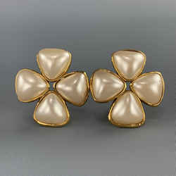 Chanel Gold Faux Pearl Flower Cluster Clip On Earrings 1991