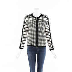 Salvatore Ferragamo Black White Checked Wool Knit Jacket SZ M