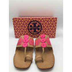 Tory Burch Size 9 Tan & Pink Sandals