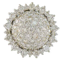 Pave Diamond Sunflower Statement Ring in 14k White Gold ( 3.75 ct tw )
