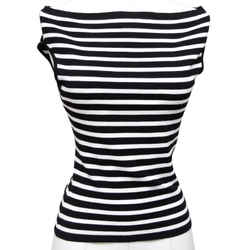 MICHAEL KORS COLLECTION Striped Sleeveless Knit Sweater White Black Bateau Sz S