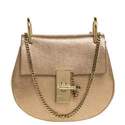 Chloé Metallic Gold Leather Small Drew Shoulder Bag