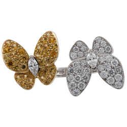 Van Cleef & Arpels 18K Yellow and White Gold Sapphire and Diamond Double Butterflies Ring