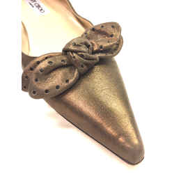 JIMMY CHOO Bronze Brushed Suede Pointed-Toe Bow Accent Flats Shoes