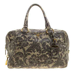 Prada Beige Talco Lace Print Cervo Leather Bowling Bag