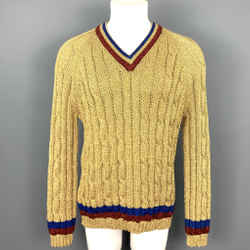 GUCCI Size XL Gold Metallic Fiber Blend Cable Knit V-Neck Sweater