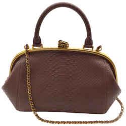 Chanel Python Skin Mauve Brown Leather Shoulder Bag