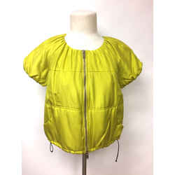 DONNA KARAN DKNY Electric-Yellow Silk Short-Sleeve Zip-Front Quilted Jacket