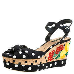 Dolce & Gabbana Multicolor Fabric And Leather Polka Dot Embroidered Knotted Bow