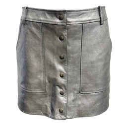 FRAME Silver Leather Mini Skirt
