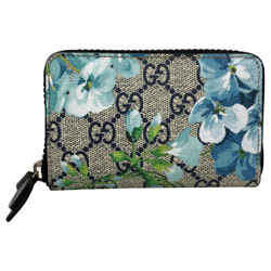 New Gucci Gg Supreme Coated Canvas Bloom Zip Around Wallet Clutch Card Case