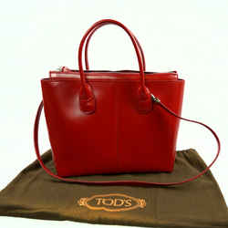 Tod's Red Leather Satchel Bag