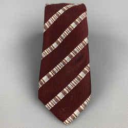 DRIES VAN NOTEN Burgundy Diagonal Stripe Silk Tie