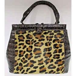 Nancy Gonzalez Animal Print Pony Hair & Brown Trimmed Crocodile Bag