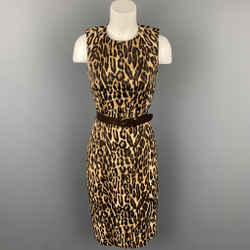 MICHAEL KORS Size 6 Brown Leopard Print Rayon Shift Dress