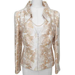 Chanel Jacket Blazer Coat Camellia Cream Gold Pearl Sz 42 Spring 2001