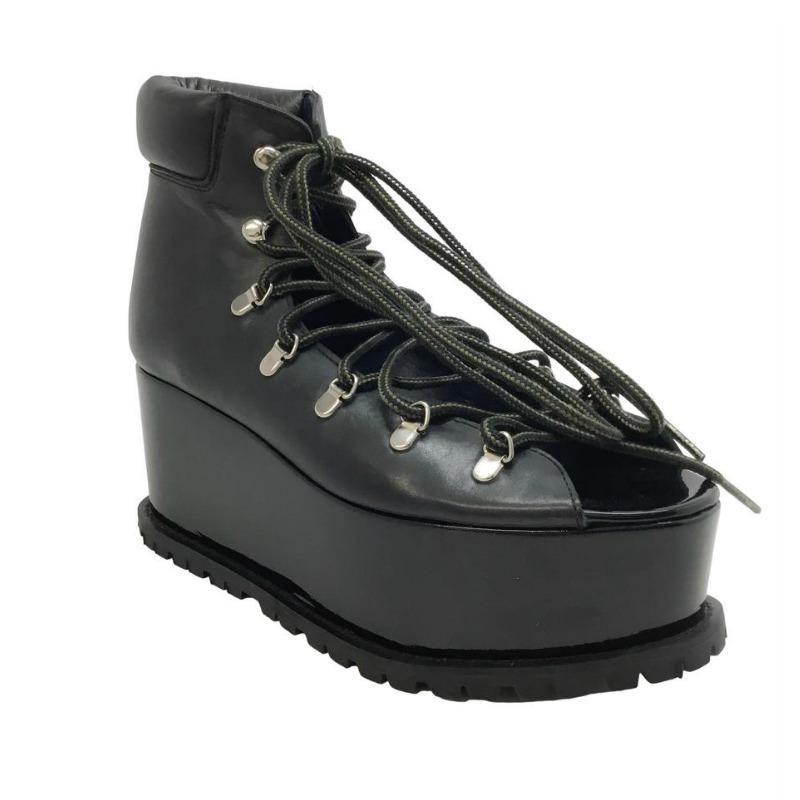 black lace up platforms
