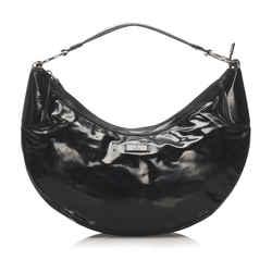 Vintage Authentic Gucci Black Vinyl Plastic Hobo Bag Italy w/ Dust Bag