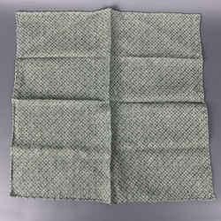 BRUNELLO CUCINELLI Green & Cream Abstract Linen / Cotton Pocket Square