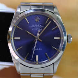 Rolex Vintage Airking Stainless steel Rare Blue Dial 34mm Watch